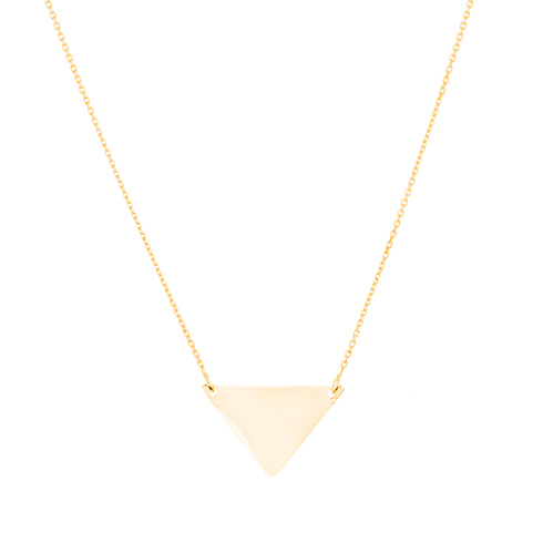 14kt Yellow Gold Polished Triangle 18in Necklace