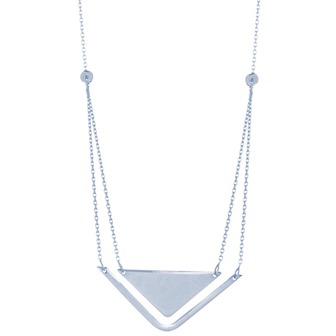 14kt White Gold Layered Triangle Duo 18in Necklace