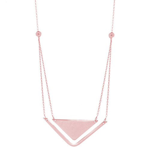 14kt Rose Gold Layered Triangle Duo 18in Necklace