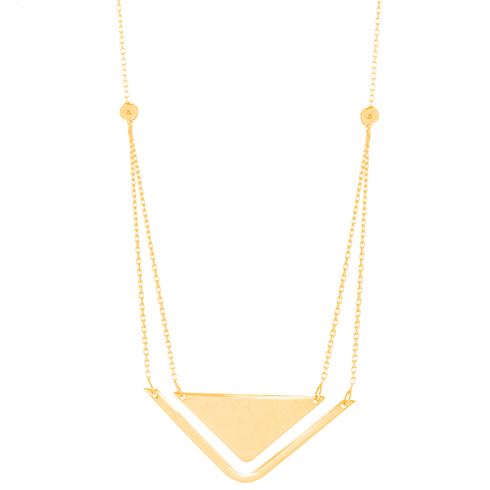 14kt Yellow Gold Layered Triangle Duo 18in Necklace