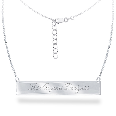 Sterling Silver Los Angeles Dodgers Bar 18in Necklace