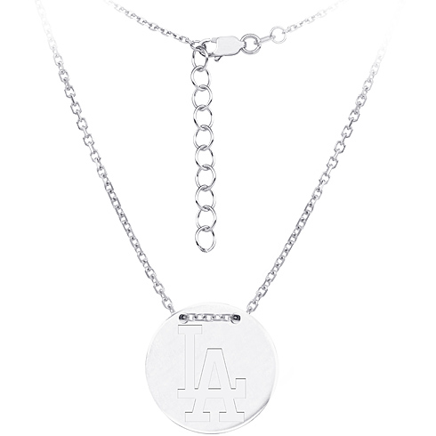 Sterling Silver Los Angeles Dodgers Disc 18in Necklace