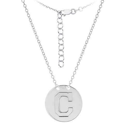 Sterling Silver Cleveland Indians Disc 18in Necklace