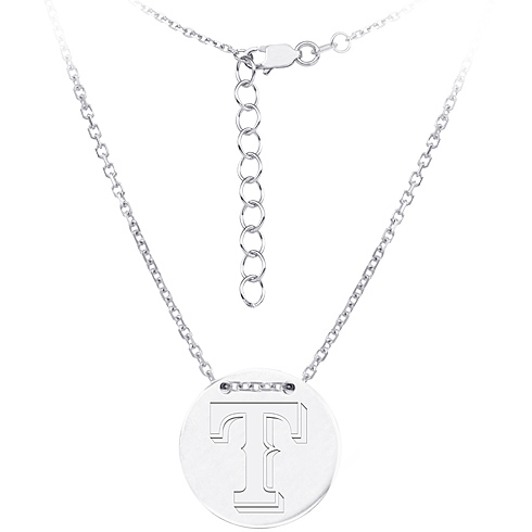 Sterling Silver Texas Rangers Disc 18in Necklace