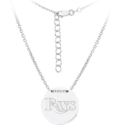 Sterling Silver Tampa Bay Rays Disc 18in Necklace