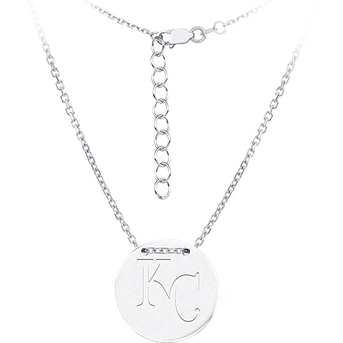 Sterling Silver Kanas City Royals Disc 18in Necklace