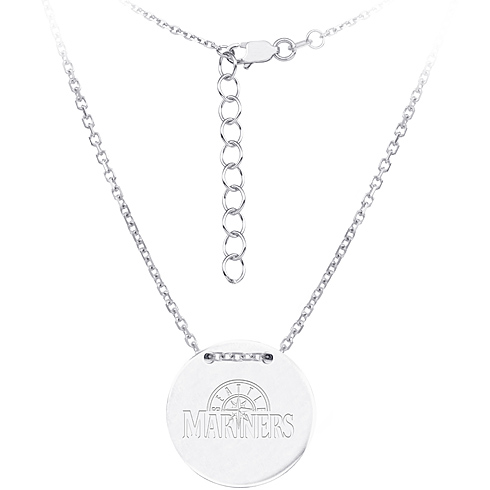 Sterling Silver Seattle Mariners Disc 18in Necklace