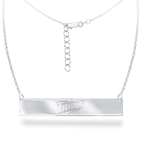 Sterling Silver Minnesota Twins Bar 18in Necklace