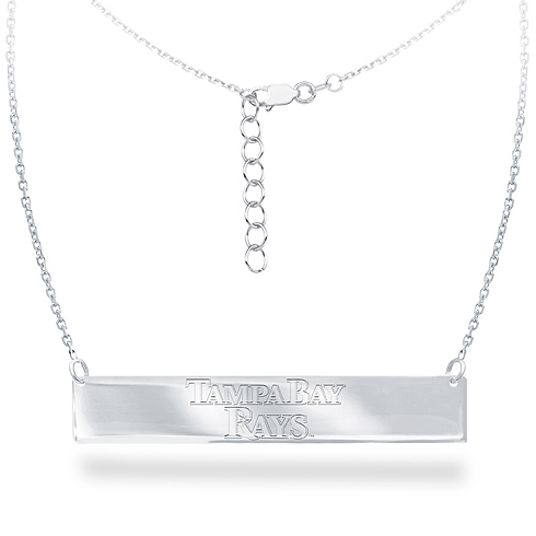 Sterling Silver Tampa Bay Rays Bar 18in Necklace