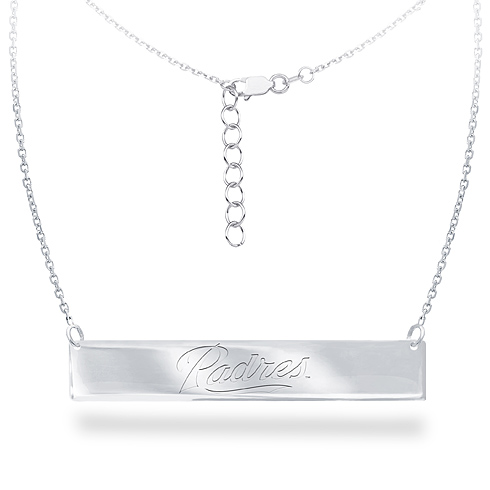 Sterling Silver San Diego Padres Bar 18in Necklace