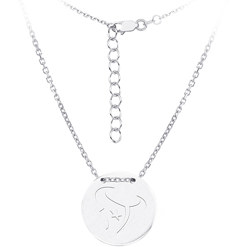 Sterling Silver Houston Texans Disc 18in Necklace