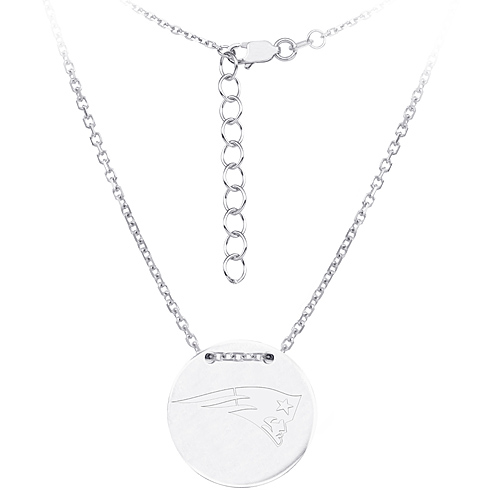 Sterling Silver New England Patriots Disc 18in Necklace