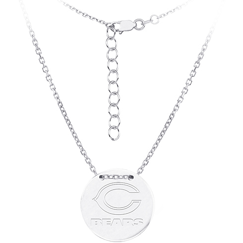 Sterling Silver Chicago Bears Disc 18in Necklace