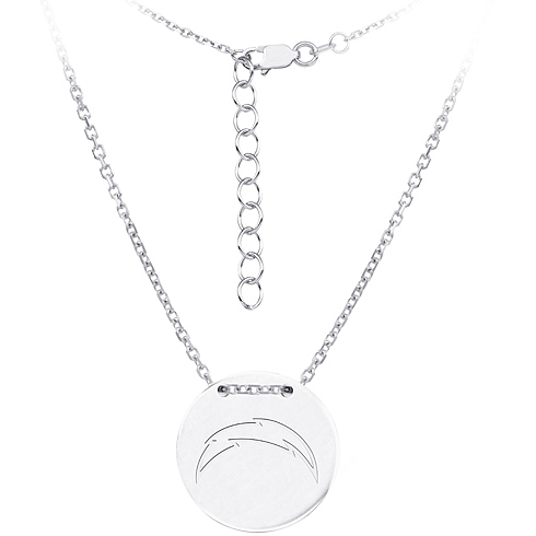 Sterling Silver San Diego Chargers Disc 18in Necklace