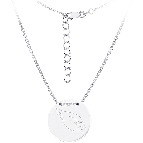 Sterling Silver Arizona Cardinals Disc 18in Necklace