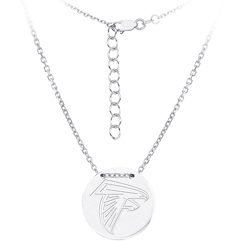 Sterling Silver Atlanta Falcons Disc 18in Necklace