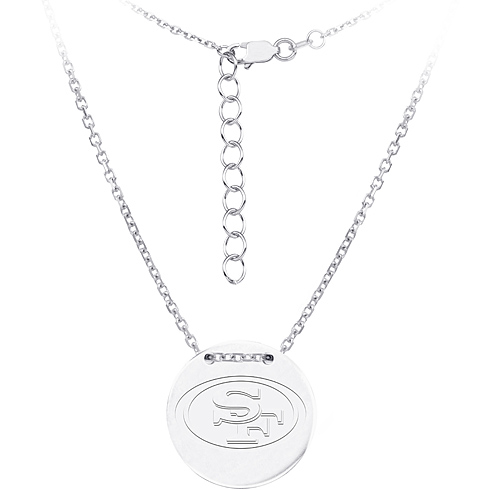 Sterling Silver San Francisco 49ers Disc 18in Necklace