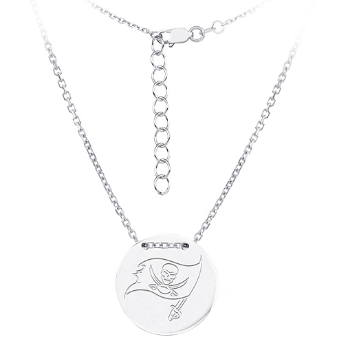 Sterling Silver Tampa Bay Buccaneers Disc 18in Necklace
