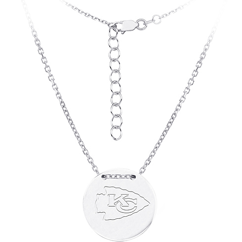 Sterling Silver Kansas City Chiefs Disc 18in Necklace