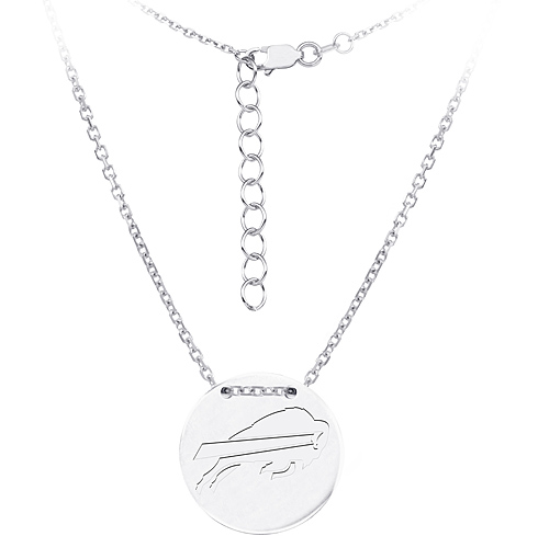 Sterling Silver Buffalo Bills Disc 18in Necklace