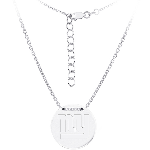 Sterling Silver New York Giants Disc 18in Necklace