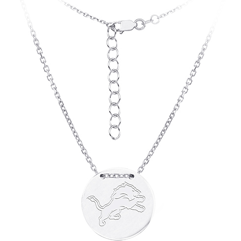 Sterling Silver Detroit Lions Disc 18in Necklace