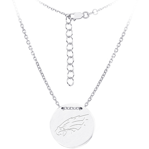 Sterling Silver Philadelphia Eagles Disc 18in Necklace