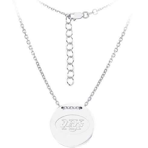 Sterling Silver New York Jets Disc 18in Necklace