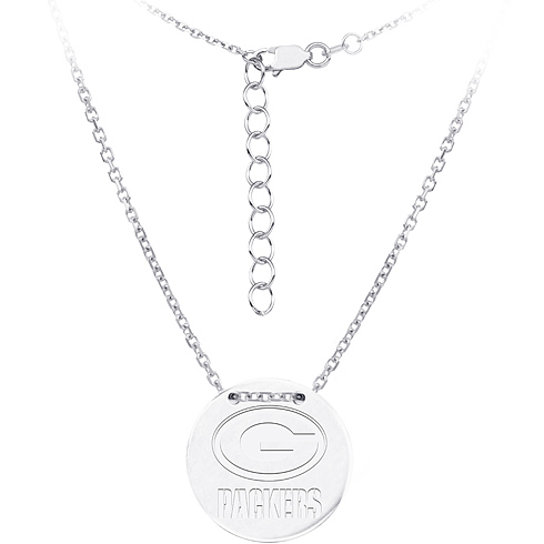 Sterling Silver Green Bay Packers Disc 18in Necklace