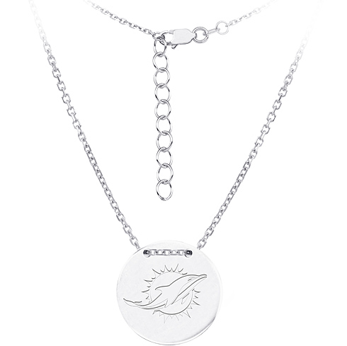 Sterling Silver Miami Dolphins Disc 18in Necklace