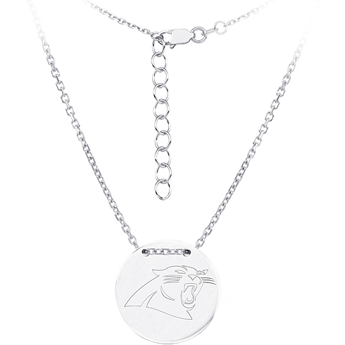 Sterling Silver Carolina Panthers Disc 18in Necklace