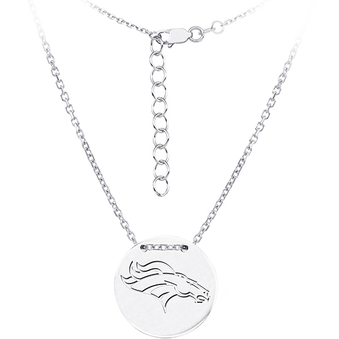 Sterling Silver Denver Broncos Disc 18in Necklace