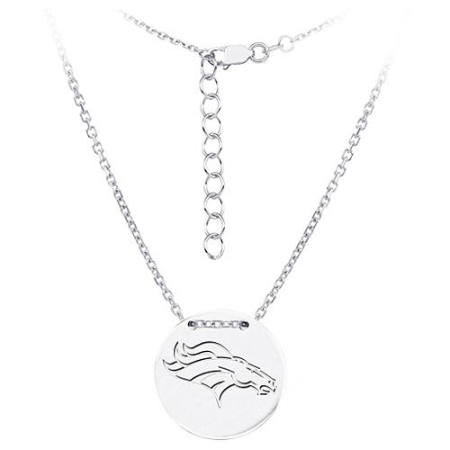 Sterling Silver Denver Broncos Disc 18in Necklace