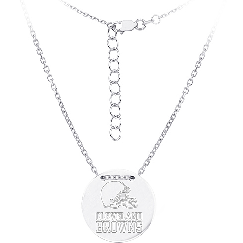 Sterling Silver Cleveland Browns Disc 18in Necklace