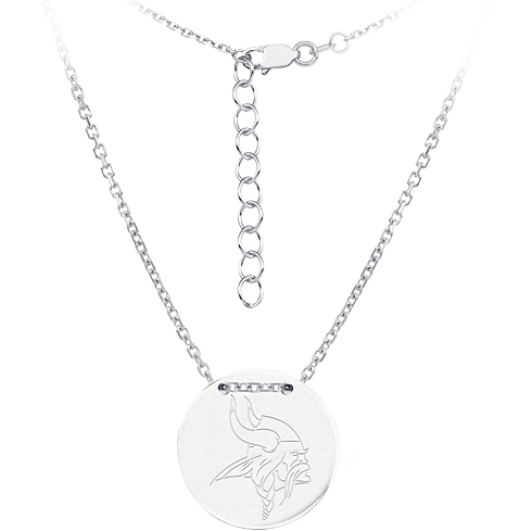 Sterling Silver Minnesota Vikings Disc 18in Necklace