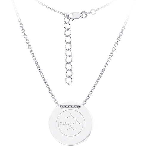 Sterling Silver Pittsburgh Steelers Disc 18in Necklace
