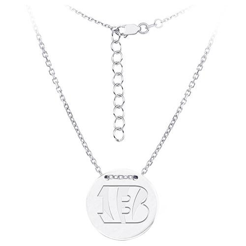 Sterling Silver Cincinnati Bengals Disc 18in Necklace