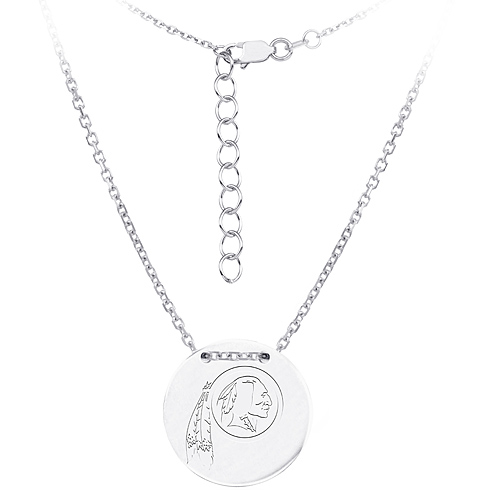 Sterling Silver Washington Redskins Disc 18in Necklace