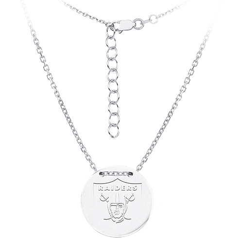 Sterling Silver Oakland Raiders Disc 18in Necklace