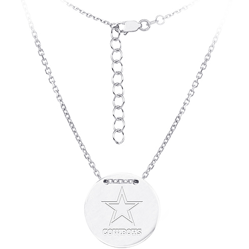 Sterling Silver Dallas Cowboys Disc 18in Necklace