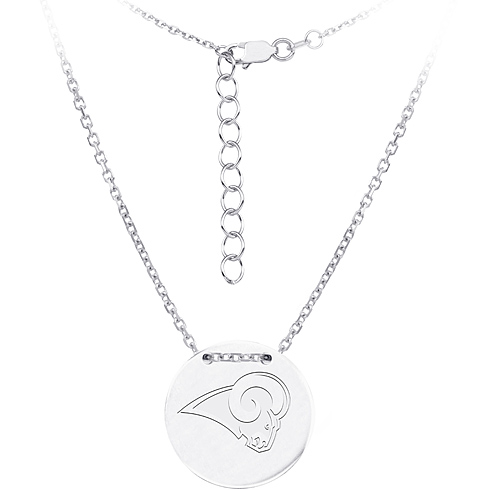 Sterling Silver Los Angeles Rams Disc 18in Necklace