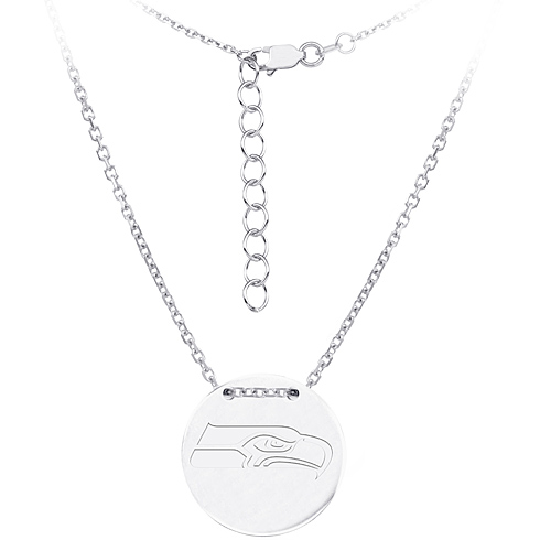 Sterling Silver Seattle Seahawks Disc 18in Necklace