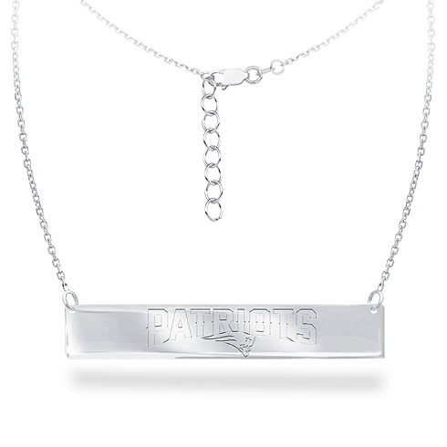 Sterling Silver New England Patriots Bar 18in Necklace