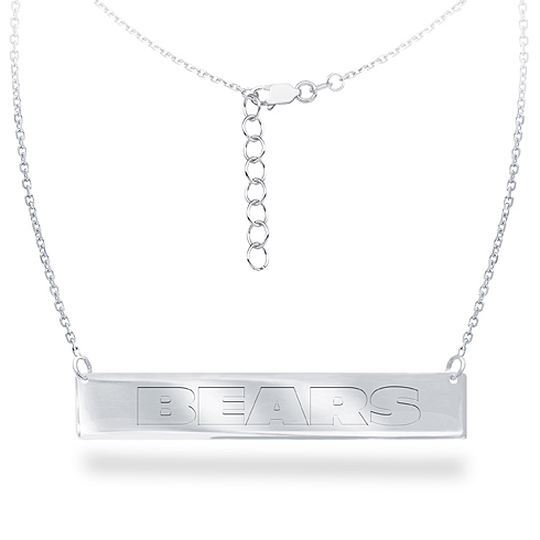 Sterling Silver Chicago Bears Bar 18in Necklace