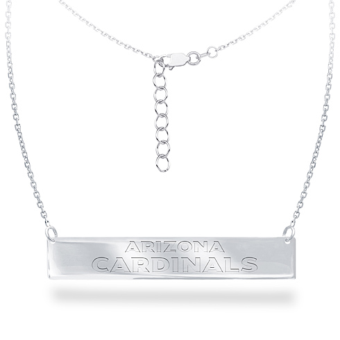 Sterling Silver Arizona Cardinals Bar 18in Necklace