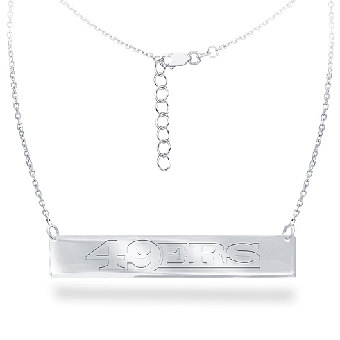 Sterling Silver San Francisco 49ers Bar 18in Necklace