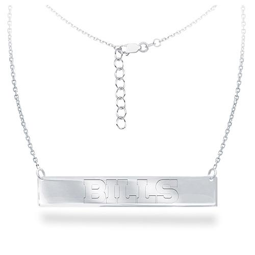 Sterling Silver Buffalo Bills Bar 18in Necklace
