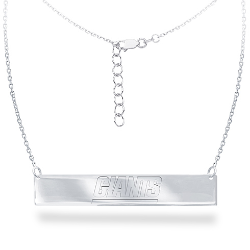 Sterling Silver New York Giants Bar 18in Necklace