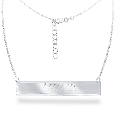Sterling Silver Detroit Lions Bar 18in Necklace