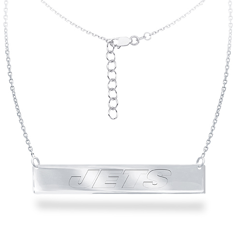 Sterling Silver New York Jets Bar 18in Necklace